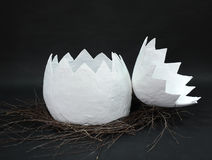 Huge papier mache egg in a nest of branches is uncovered in two parts on a black background Stock Photos