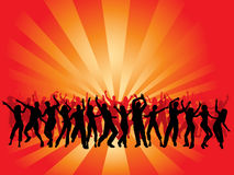 Huge party. Silhouettes of lots of people dancing royalty free illustration