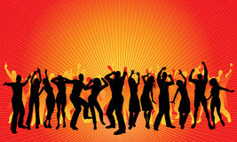 Huge party. Silhouettes of lots of people dancing - each silhouette is whole and can be used independently in the vector file royalty free illustration