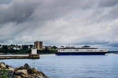A huge passenger boat in Cape Elizabeth, Maine royalty free stock images