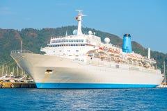 Huge passenger liner in the port Stock Photo