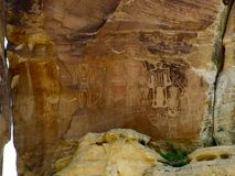 Huge petroglyph and pictograph panel at McConkie Ranch near Vernal, Utah. Royalty Free Stock Photography