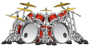 Huge 10 Piece Rock Drum Set Musical Instrument Illustration. Ten piece heavy metal rock band musical percussion drum kit instrument vector illustration Stock Illustration