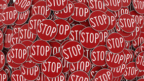 Huge Pile of Aligned Circular Red Stop Signs Royalty Free Stock Photo