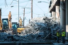 Huge Pile Of Concrete Debris Sits From Atlanta Bridge Collapse Royalty Free Stock Photos