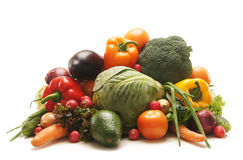 A huge pile of fresh fruits and vegetables Stock Photo