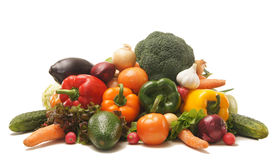 A huge pile of fresh fruits and vegetables Stock Photos