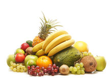 A huge pile of fresh fruits on a white background Royalty Free Stock Photo