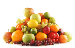 A huge pile of fresh and tasty fruits on white Stock Images