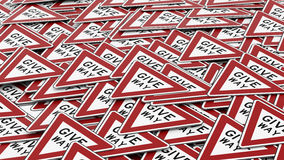 Huge Pile of Give Way Signs Stock Photography