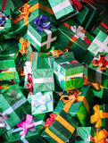Huge pile of green shining gift boxes Stock Photography
