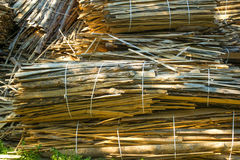 Huge pile of large sawn logs bars from the forest Royalty Free Stock Photos