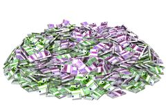 Pile of Money. Financial Success Concept. Huge pile of euro currency isolated on white background. 3D illustration stock photography