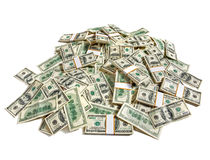 Huge pile of money. Studio photography of American moneys of hundred dollar royalty free stock image