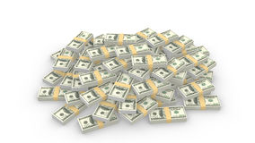 Huge pile of random american 100 dollar bills on white. 3D illustration Vector Illustration