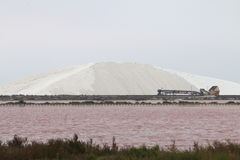 Huge pile of salt near Aigues-Mortes, Camargue, France Royalty Free Stock Photo
