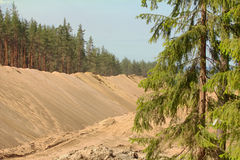 Huge pile of sand for road construction Royalty Free Stock Photo