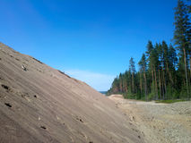 Huge pile of sand for road construction Royalty Free Stock Photos