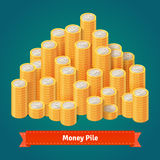 Huge pile of stacked gold coins. Flat style vector illustration royalty free illustration