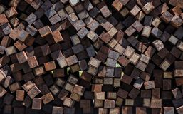 Huge pile of unused railroad tiles royalty free stock photography