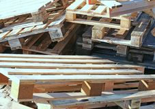 Huge pile of wooden pallets piled Royalty Free Stock Photo