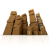 Huge piles of cardboard boxes vector illustration