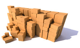 Huge piles of cartons royalty free stock photo