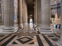 Huge pillars and tiled floor inside Paris, France, Pantheon Royalty Free Stock Photo