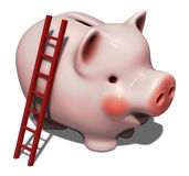 Huge pink piggy bank. With ladder  on white Stock Photo