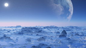 Huge planet over the horizon. stock footage