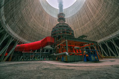 Huge Power plant producing heat Royalty Free Stock Image