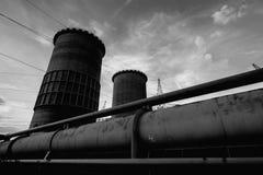 Huge Power plant producing heat Stock Photos