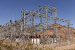 The power grid up the hill from Hoover Dam. Royalty Free Stock Photography