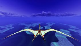Huge pterodactyl over land Royalty Free Stock Image