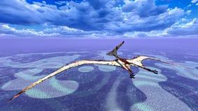 Huge pterodactyl over land Stock Photos