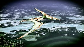 Huge pterodactyl over land Royalty Free Stock Photos