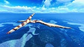 Huge pterodactyl over land Royalty Free Stock Photo