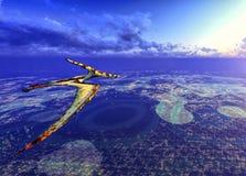 Huge pterodactyl over land Stock Image