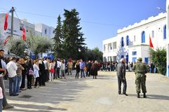 Huge queue of people waiting to vote Stock Photography