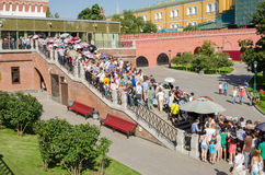 Huge queues in the summer in the Moscow Kremlin Museums Stock Photos