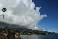 Storm Clouds Over the Palos Verdes Peninsula Overlooking the Pacific Ocean, Los Angeles County, California. Huge rain clouds amass over the Palos Verdes royalty free stock image