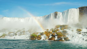 A huge rainbow in the background Niagara Falls. Lower angle shooting from the Niagara River
