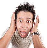 Huge reaction from young man royalty free stock images