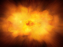 Huge realistic hot dynamic explosion, orange color with sparks. And hot smoke Stock Image