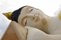 The huge Reclining Buddha be enshrined inside the temple Stock Image