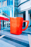 A huge red cup of coffee Royalty Free Stock Image