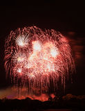 Huge Red Fireworks Royalty Free Stock Photography