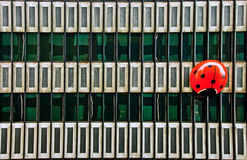 Huge red ladybug on a building facade Royalty Free Stock Photography