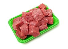 Huge red meat chunk. Isolated over white background royalty free stock images