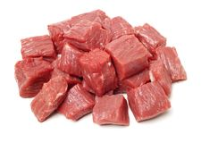 Huge red meat chunk. Isolated over white background stock photo